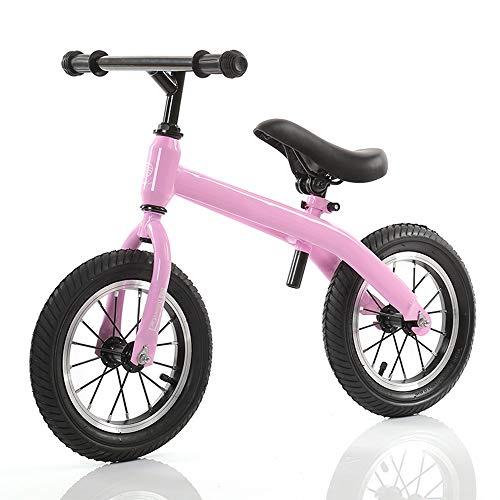 YumEIGE Loopfiets voor kinderen, 12 inch frame van koolstofstaal voor 2-6 jaar, kinderloopfiets, belasting 30 kg, loopwiel, verstelbare zitting roze