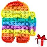 Smile Addict Pop it - Juego de cartas de juguete de silicona con diseño de robot de Among, tamaño grande, 20 x 18 cm