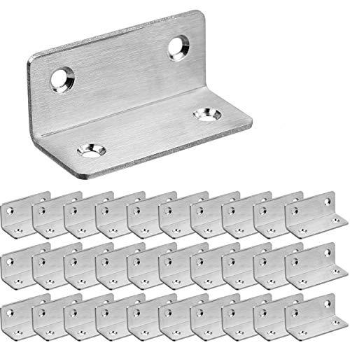 30pcs Équerre de Fixation inox 60x25mm pour la Fixation et la Réparation de Meubles, Renforcer les Joints, Argent