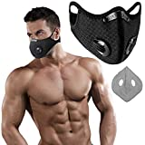 KIWANUU / Sports Training Mask/Workout Mask Breathing Training for Gym/Cardio/Fitness/Running/Endurance/HIIT/Sports Outdoor Activities/Activated Carbon Filter/Black