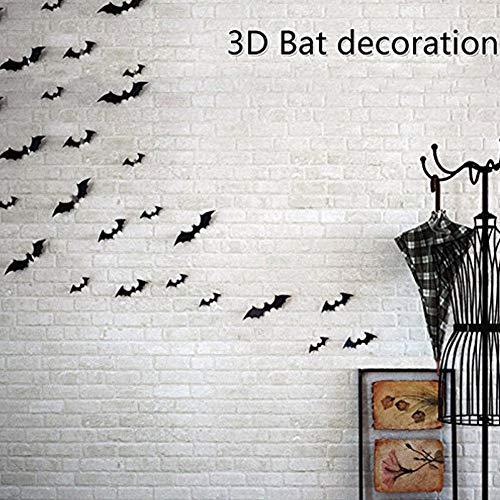 60 Pcs DIY Halloween Party Supplies PVC 3D Noir Chauves-souris Stickers Muraux Sticker Mural Autocollant 4 Différentes Tailles Halloween Eve Décor Fenêtre de La Maison Décoration