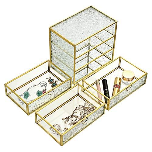 SUMTREE Joyero vintage de 3 capas, de metal y cristal, con tapa, para guardar joyas, anillos y pendientes, para el Día de la Madre y bodas, regalo de cumpleaños (rectangular, dorado)