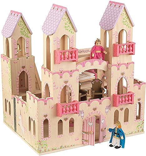 KidKraft Kinder Holz Spielzeug Princess Castle mit Puppen Puppenhaus Fantasy Pretend Play