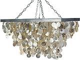 KOUBOO 1050053 Rectangular Capiz Seashell Rain Drop Pendant Lamp, 32' x 16' x 18', Champagne
