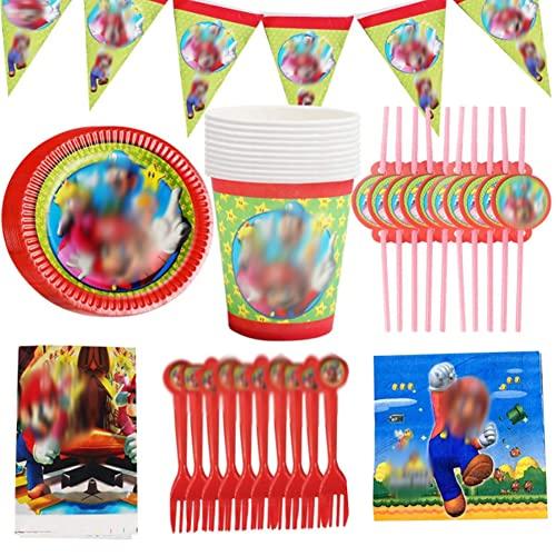 Tomicy Vajilla Diseño de Super Bros 62pcs Reutilizable Accesorio de Decoración de Fiesta de Cumpleaños Apoyo para Celebración Pancarta Platos Vasos Servilletas y Mantel Resistente