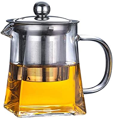 Glass Teapot with Stainless Steel Infuser & Lid, Borosilicate Glass Tea Kettle Stovetop Safe, Blooming & Loose Leaf Teapot,Glass Square Pot (950ML/32oz)