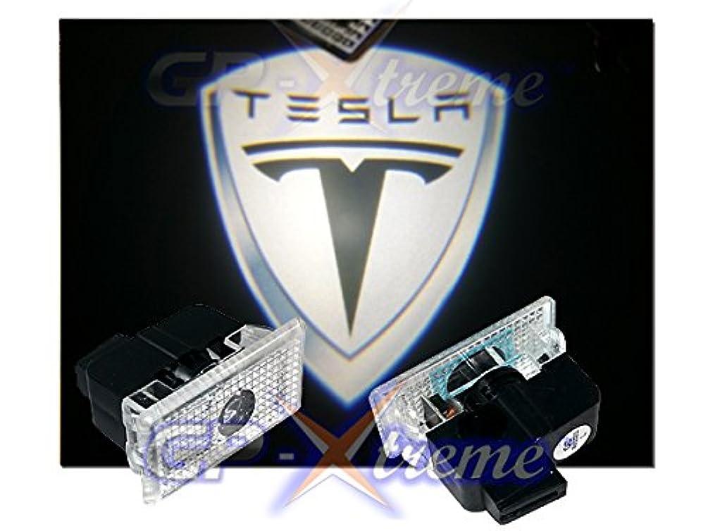 TESLA MODEL S MODEL X MODEL Y MODEL 3 No Drilling Changeable Logo Door Courtesy Welcome Light Laser White Shield Emblem Logo Kit Ghost Shadow Lights logo chips GP Xtreme