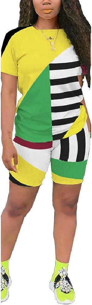 Women's 2 Piece Short Sets - Short Sleeve T-Shirt and Biker Shorts Pant Tracksuit Set