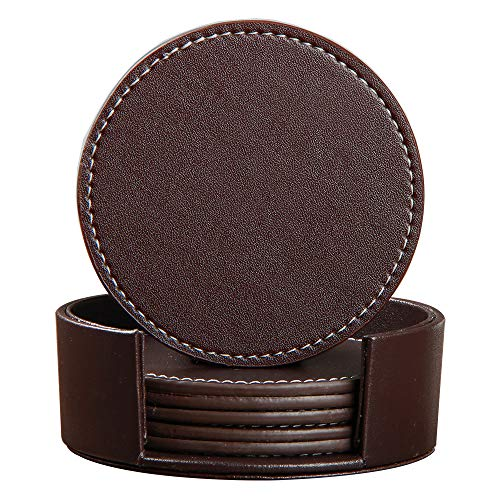YAPISHI Coaster for Drinks with Holder, Set of 6 PU Leather Drink Coasters Coffee Tea Cup Pads Round...