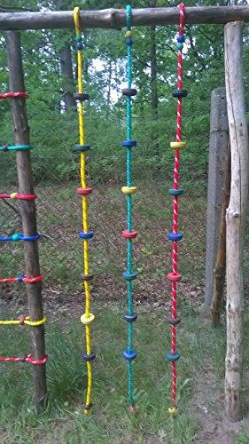 Sellon24 Kletterseil Ø16mm 200cm Kinder mit Kunststoff Stufen Kunststoffknoten Kettertau