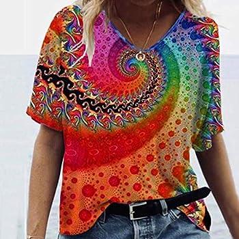 Easter giftspolyesterlemon Shirt womenfloral top Plus sizebeach t Shirts womenRedXL
