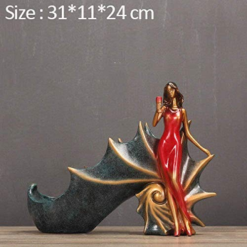 YsKYCA Sculptures Decoration,Table Living Room Kitchen Home Office Anniversary Present Collectible Figurines Craft Giftbeauty Wine Rack Dancing Girl Wine Holder Minimalist Ornaments Wedding -D