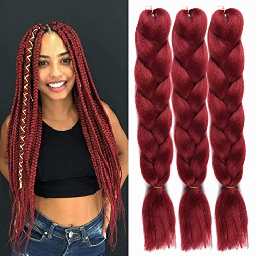 UHair Burgundy Red Kanekalon Braiding Hair Extensions Jumbo Braid Crochet Colorful Hair High Temperature Synthetic Fiber Hair Extension for Women(100G/pc, 3 pcs/lot)