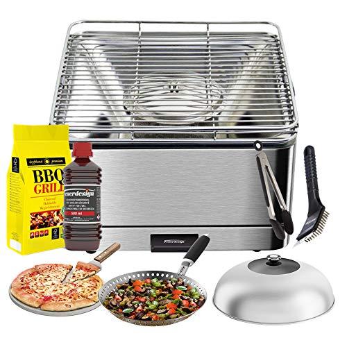 YesEatis by FEUERDESIGN - TEIDE Grill van roestvrij staal - Set met gel Accence + KARBONELLA 3 kg + tang + pizza + koepel inox + pan groente + reinigingsborstel