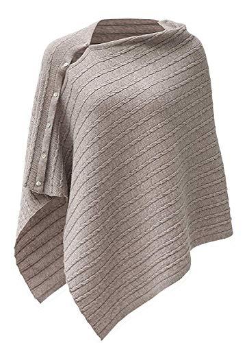 PULI Donna Bottone Scialle lavorato a maglia Poncho Cape Cardigan Cashmere/Cashmere Feel Sciarpa avvolgente per la primavera estate Autunno