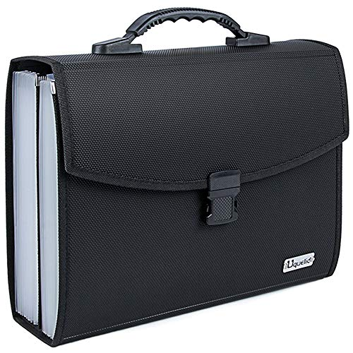 Uquelic 26Pockets Expanding File Folder - Upgraded Durable Buckle, Base with Ergonomic Portable Handle/Large A4 Letter Size Expandable File Organizer/Accordion Filing Document for Office Home (Black)