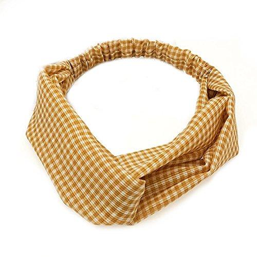 BIGBOBA Bande de Cheveux Accessoires de Cheveux en Tissu Bande de Cheveux à Carreaux Britanniques Largeur Bandeau Croisé Taille 27 * 6 CM(Jaune)