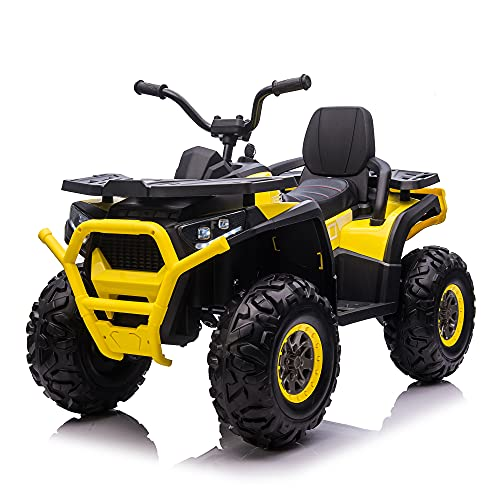 COLOR TREE Kids Large Ride On ATV 4WD - 12V10A Battery Powered Electric Vehicle Motorized Car Off-Road SUV w/ 5 mph Max Speed, Spring Suspension, Leather Seat, LED Lights, MP3