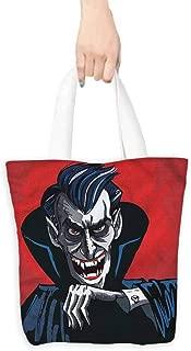 Handbag or crossbody messenger bag,Vampire Cartoon Cruel Old Man,Canvas Shopping Beach Cloth Tote,16.5
