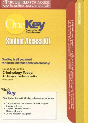 Download Criminology Today Student Access Kit: An Integrative Introduction (OneKey) 0132226472