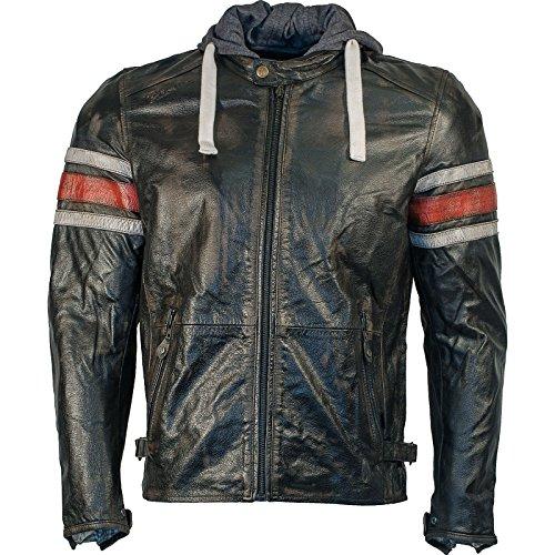 Richa Toulon Lederjacke mit Kapuze schwarz/rot 52 - Motorradjacke