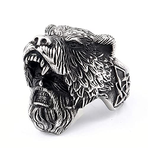 SBRTL Hombres Anillos De Calavera Acero Inoxidable, Viking 3D Celtic Bear Warrior Paganos Anillo Charm Gothic Biker Norse Fashion Steampunk Jewelry Tamaño 7-13,10