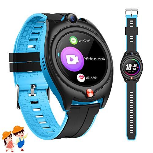 4G Smartwatch für Kinder,Smartwatch Kinder GPS Tracker Sport Uhren Telefon mit wasserdichte WiFi SOS Videoanruf Touchscreen Schrittzähler für Jungs Mädchen Geschenk (Blau)