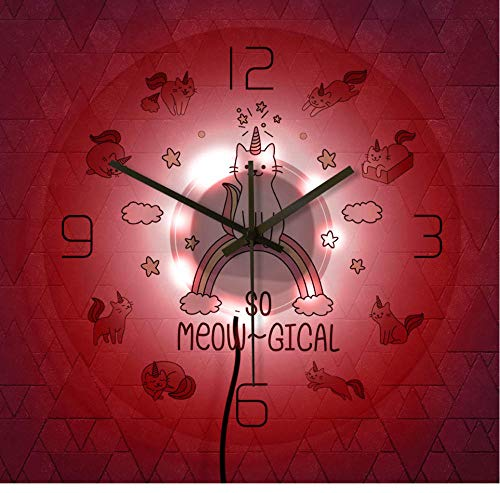 QAZQAZ Precioso Gato Unicornio Reloj de Pared Lindo Animal místico Bonito Reloj de Pared único Nube Gato decoración de Pared-7_Colors_LED