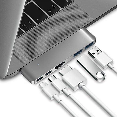 Purgo Mini USB C Hub Adapter Dongle for 2020/2019/2018 MacBook Air, 2020/2019-2016 MacBook Pro with USB C Ports, 4K HDMI, 100W PD, 40Gbps TB3 5K@60Hz and 2 USB 3.0 Ports (Space Grey)