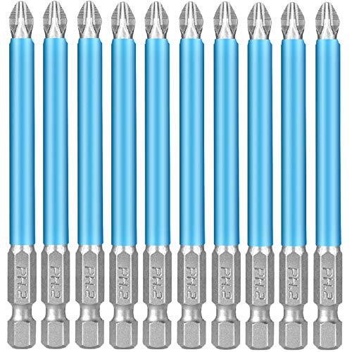 Puntas de Destornillador Largas 150mm PH2 Juego de Puntas para Atornillador bosch, dewalt, stanley, Makita y más (10 piezas, 150 mm)