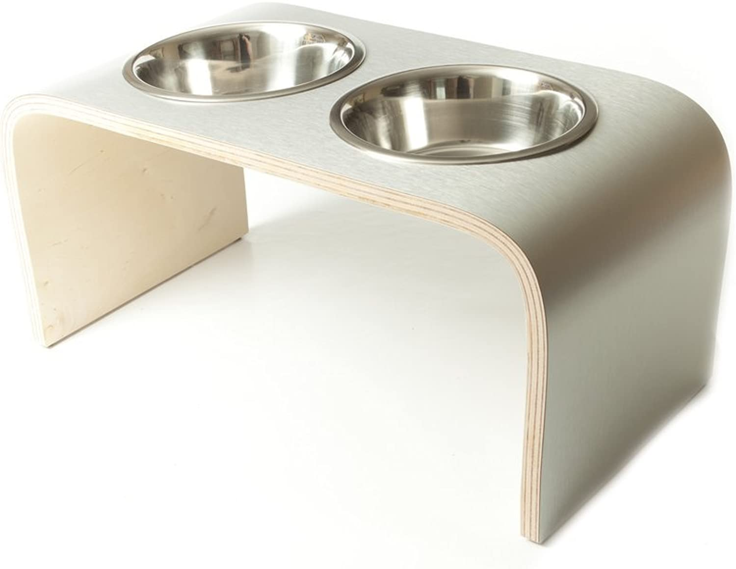 Lola and Daisy Designs XSmall Aluminium & Birch Raised Dog Bowl Double Pet Feeder Non Slip Feet Easy to Clean