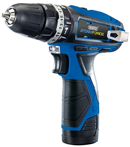 Draper 16048 Storm Force 10.8V Cordless Hammer Drill with Two Li-ion Batteries, 10.8 V, Multicoloured
