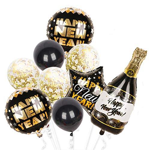 Xx101 Globo 1set 2021 Feliz Año Nuevo Foil Globos Copa de Cerveza Copa Negro Oro Globo Globo Boda Cumpleaños Decoraciones Decoraciones para niños Latex Juguetes (Color : 1set)