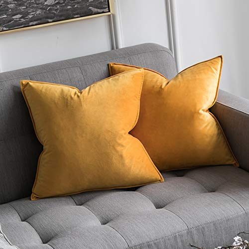 MIULEE Pack of 2 Velvet Soft Decorative Square Throw Pillow Case Flanges Cushion Covers Pillowcases for Livingroom Sofa Bedroom with Invisible Zipper 45cm x 45cm 18x18 Inch Set of Two Mustard