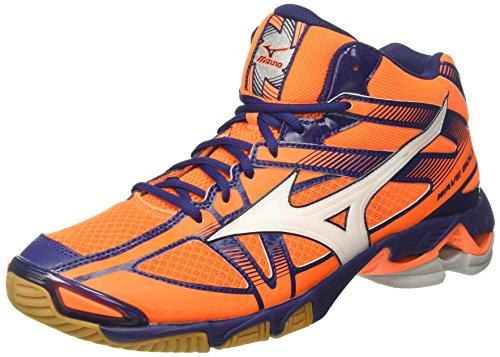 Mizuno Wave Bolt 6 Mid, Scarpe da Ginnastica Uomo, Arancione (Orange Clown Fish/White/Blue Depths), 47 EU
