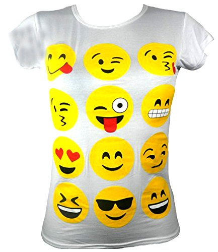 Aelstores MÄDCHEN T-Shirts UND Leggings Emoji Emoticons Smiley Kurzarm Tops Kinder Alter 7 9 11 13 NEU