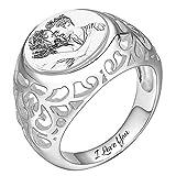 Soufeel Personalisiert Damen Ring mit Ihrem eigenen Foto und Text Gravur 925 Sterling Silber Rhodiniert Geschenkidee für Valentine Jahrestag Geburtstag
