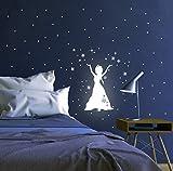 Wandtattoo Wandaufkleber Leuchtsticker Schneeprinzessin Prinzessin fluoreszierend M1649 - ausgewählte Größe: *L - 19cm breit x 29cm hoch*