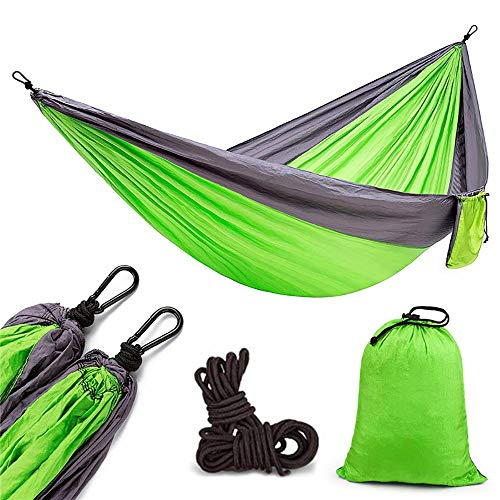 Nobranded DAXIAN Single Double Parachute Cloth Swing Hammock Two-color Stitching Outdoor Camping Hammock 270 x 140 cm/Green double