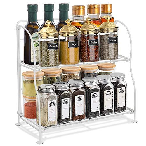 GEMITTO Especiero Organizador de Encimera de Cocina de para frascos de 2 estantes Estanterías para Baño Estante de Pie Libre Encimera Organizador Multiuso para Condimentos