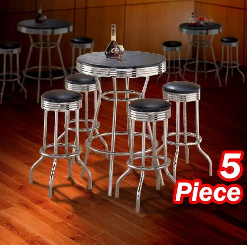 5pc Black Wood Bar Table Commercial Restaurant Chrome Black Swivel Barstool Set 29