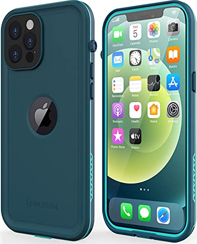 LOVE BEIDI Design for iPhone 12 Pro Max case Waterproof 6.7'', Full Body Shockproof Phone Case for iPhone 12 Pro Max Case with Screen Protector, Dust Proof Cover for iPhone 12 Pro Max (Turquoise)