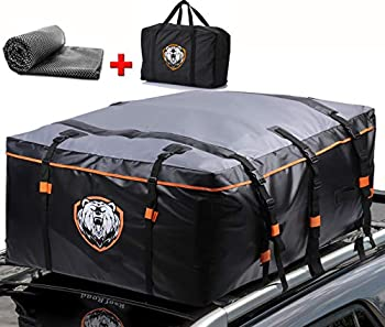 Waterproof 19 Cubic Feet Rooftop Cargo Carrier PRO - Heavy Duty Roof Top Luggage Storage Bag with Anti-slip Mat + 10 Reinforced Straps & Door Hooks - Perfect for Car Truck SUV With/Without Rack