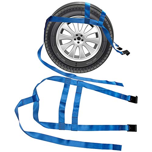 "Bang4buck 2Pcs 17"" - 21"" Rim Size Car Basket Rachet Tow Dolly Straps Adjustable Racing Rally Wheel Net Set with Flat Hooks, 6600lbs Breaking Strength"