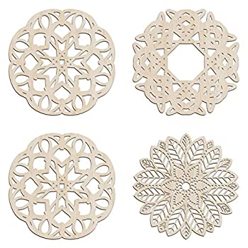 Ambesonne Mandala Wooden Wall Art Set of 4 Boho Sporouting Medallion Stripe Art Birch Wood Plywood Rustic Wall Art Accent for Hallway Bedroom Living Room Cafes and Offices 11.4  X 11.4  X 0.1