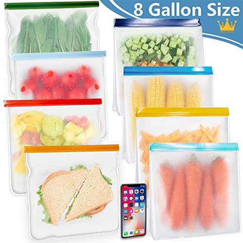 New! KYONANO Reusable Gallon Bags 8 Pack, Incl. 4 Stand Up Reusable Ziplock Gallon Freezer Bags, Reusable Food Storage Zipper Bags for Fruit, Cereal, Sandwich, Snack, Travel Item