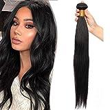 22'(55cm) SEGO Brazilain Human Hair Bundles Extensiones de Cortina Pelo Natural Humano [#1B Negro Natural] Cabello Brasileño sin Clip Liso Straight (1 Bundle,100g)