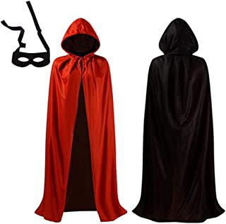 Mojonnie Unisex Hooded Velvet Cloak Coat Halloween Witch Cosplay Costume Party Cape Cloak