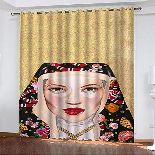 Cortinas Opacas De Salon Termicas Aislantes para Ventana Cortinas Dormitorio Moderno con Ojales 2 Piezas - Turbante De Mujer 170 × 255 Cm × 2 Paneles