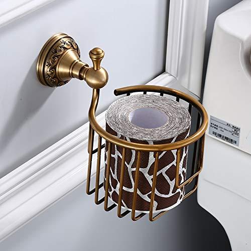 Aishiping toiletpapierhouder van messing voor wandmontage, antiek oppervlak